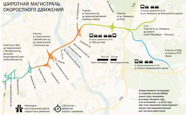 Минтранс прорабатывает вопрос строительства КАД-2 в Петербурге